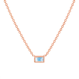 Small single moonstone baguette necklace