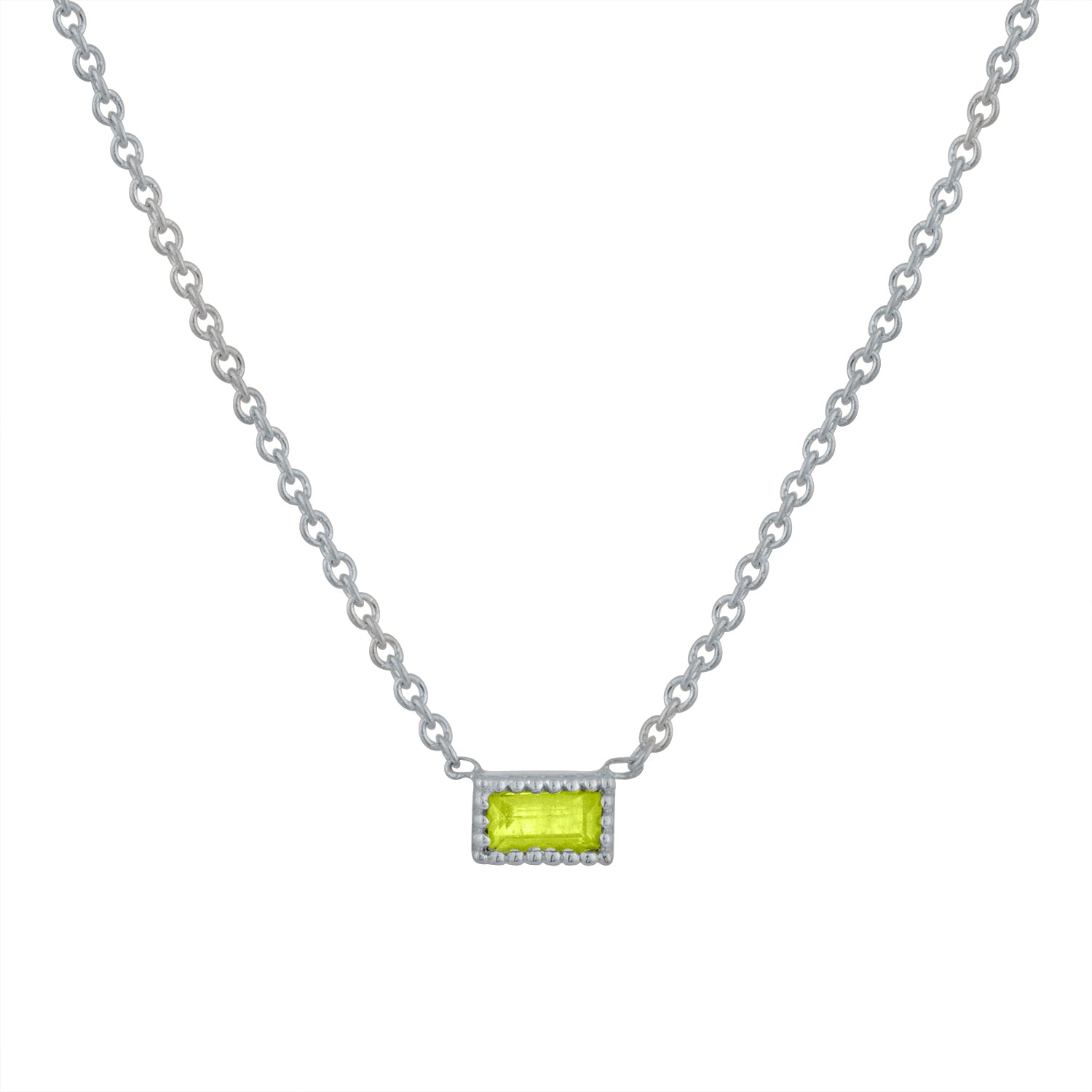 Small single peridot baguette necklace