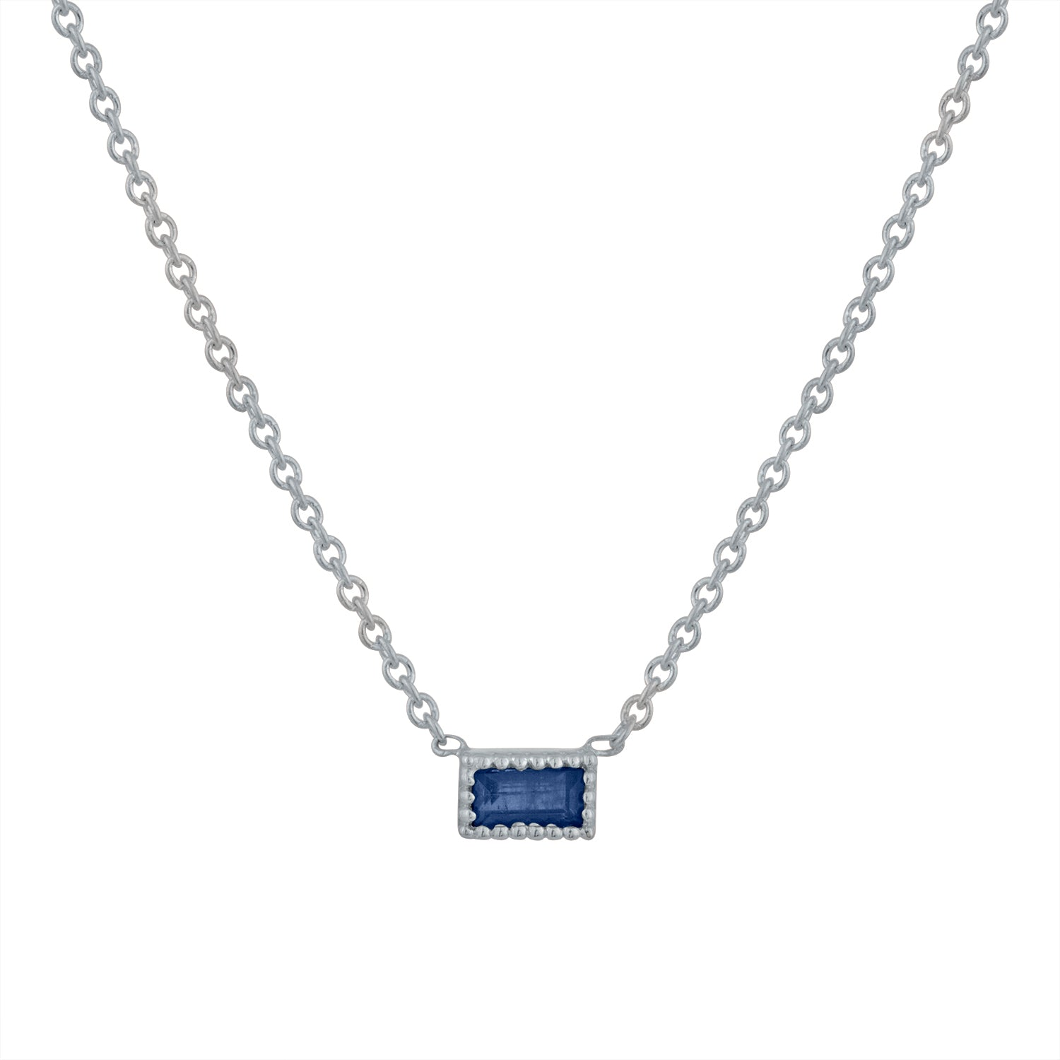Small single sapphire baguette necklace