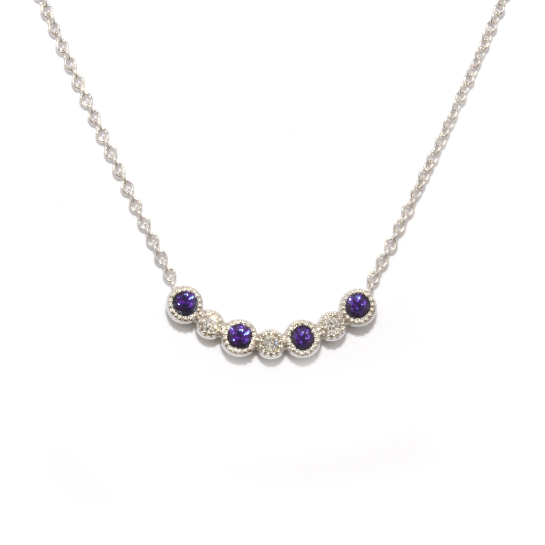 Curved bar with alternating amethyst and diamond rounds