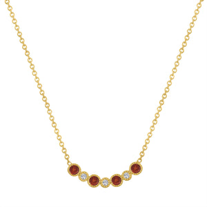 Curved bar with alternating garnet and diamond rounds