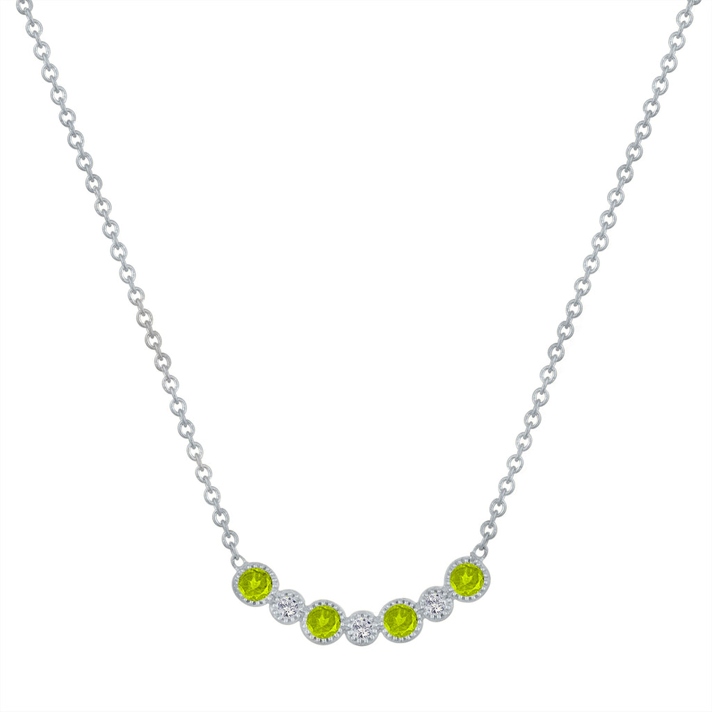 Curved bar with alternating peridot and diamond rounds