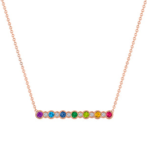 7 alternating rainbow round stones and 6 round diamonds