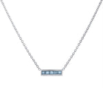 Small bar pendant with 5 square aquamarines