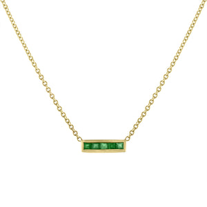 Small bar pendant with 5 square emerald