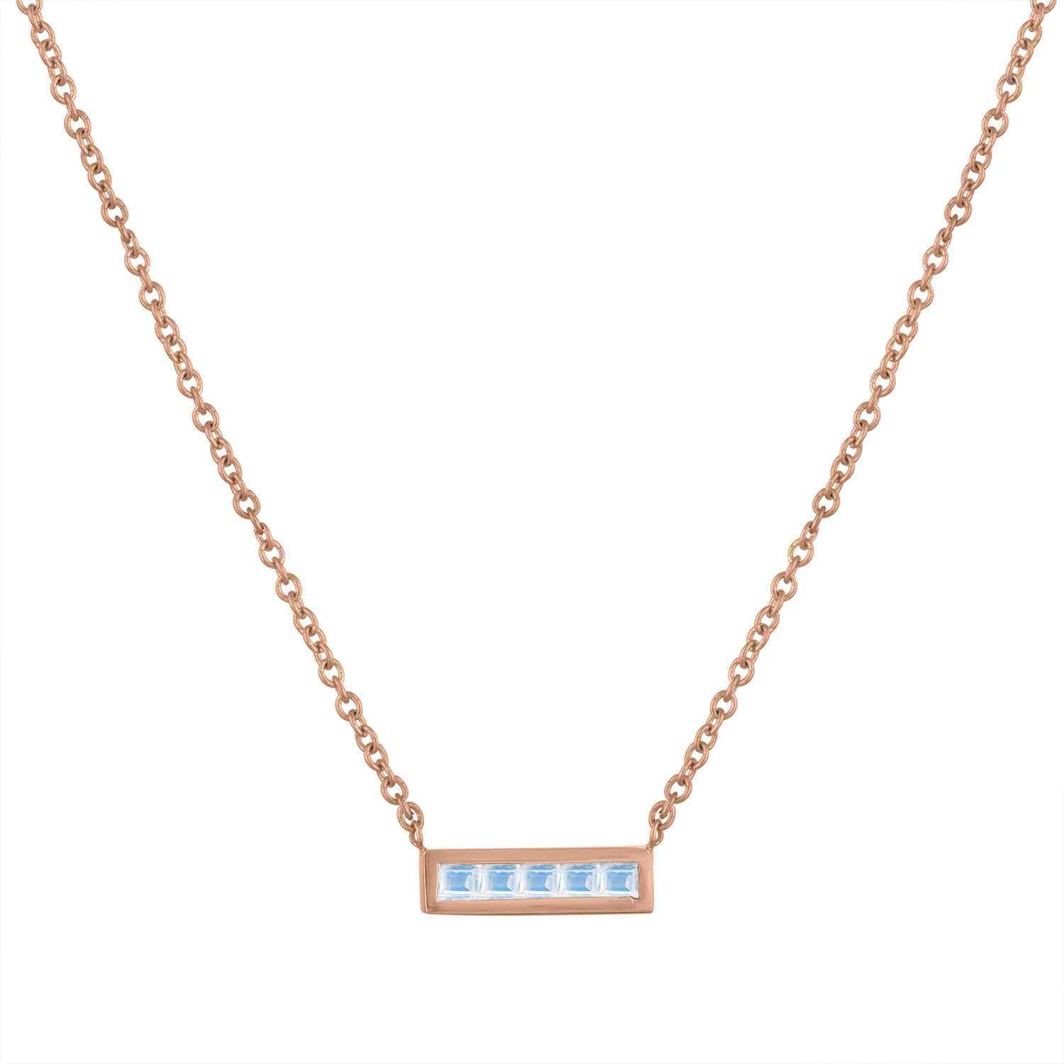 Small bar pendant with 5 square moonstones