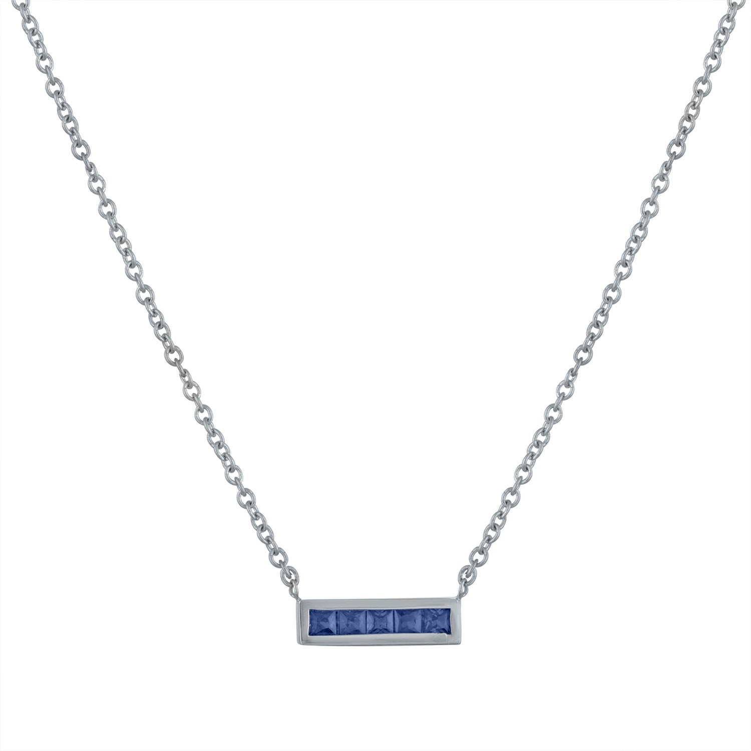 Small bar pendant with 5 square sapphires