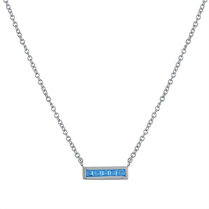 Small bar pendant with 5 square blue topaz
