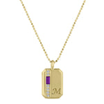 Small rectangular pendant with amethyst baguette, 6 diamonds and an initial