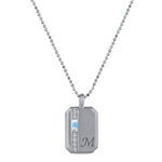 Small rectangular pendant with aquamarine baguette, 6 diamonds and an initial