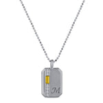Small rectangular pendant with citrine baguette, 6 diamonds and an initial