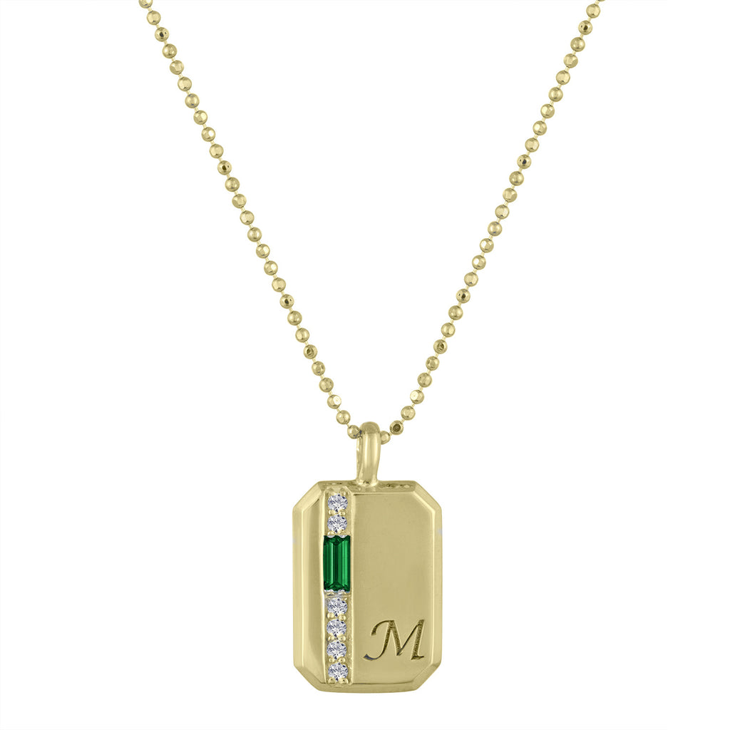 Small rectangular pendant with emerald baguette, 6 diamonds and an initial