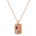 Small rectangular pendant with garnet baguette, 6 diamonds and an initial