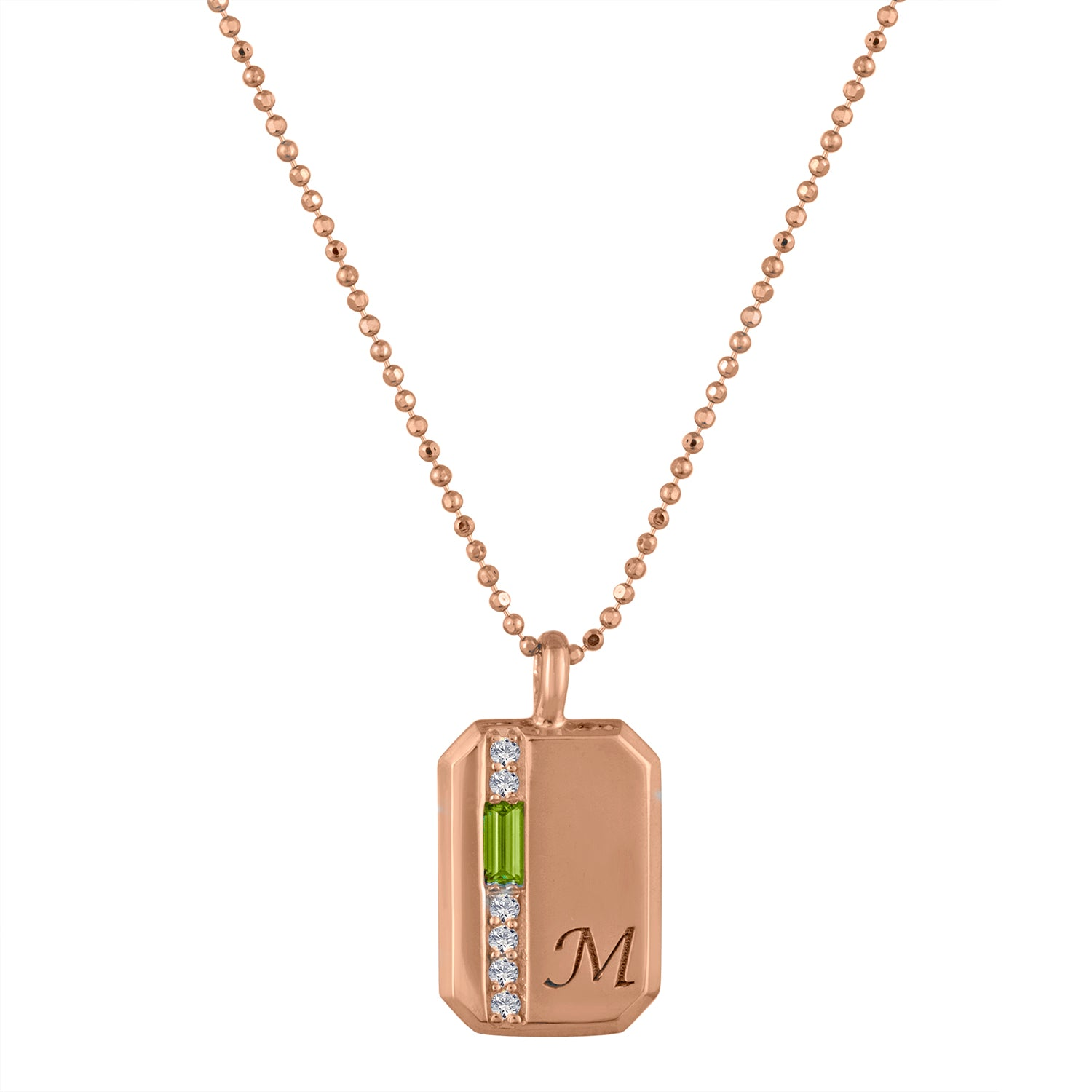 Small rectangular pendant with peridot baguette, 6 diamonds and an initial
