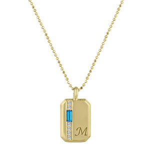 Small rectangular pendant with blue topaz baguette, 6 diamonds and an initial