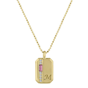 Small rectangular pendant with toumaline baguette, 6 diamonds and an initial