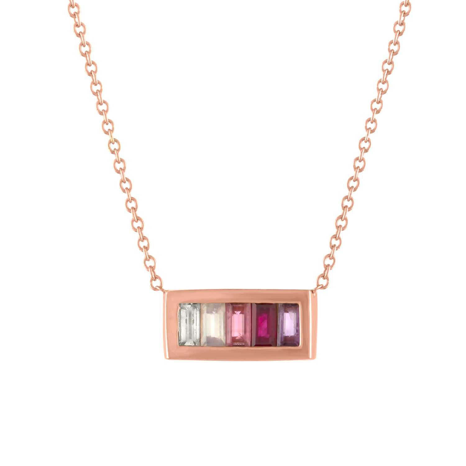 Rectangular pendant with 5 pink ombre baguettes
