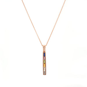 Vertical 6 multi color stone pendant