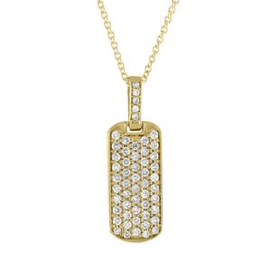 Small pave dog tag with diamond bail