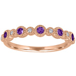 Ana ring with alternating round amethysts and diamonds