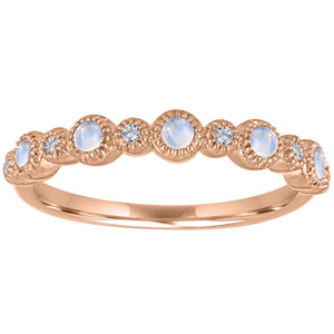 Ana ring with alternating round moonstones and diamonds