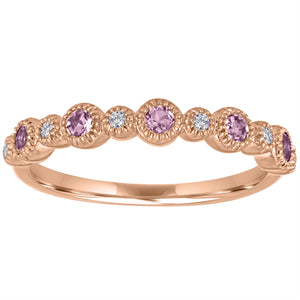 Ana ring with alternating round pink tourmaline and diamonds