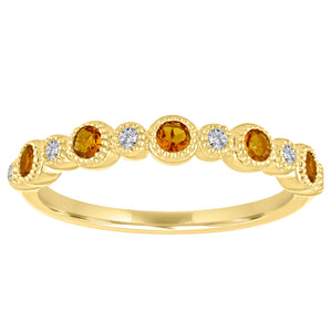 Ana ring with alternating round citrines and diamonds