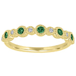 Ana ring with alternating round emeralds and diamonds