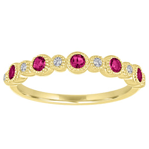 Ana ring with alternating round rubies and diamonds
