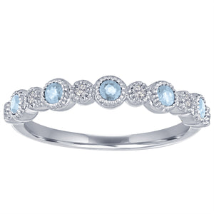 Ana ring with alternating round aquamarines and diamonds