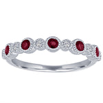 Ana ring with alternating round garnets and diamonds
