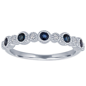 Ana ring with alternating round sapphires and diamonds