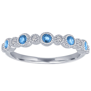Ana ring with alternating round blue topaz and diamonds