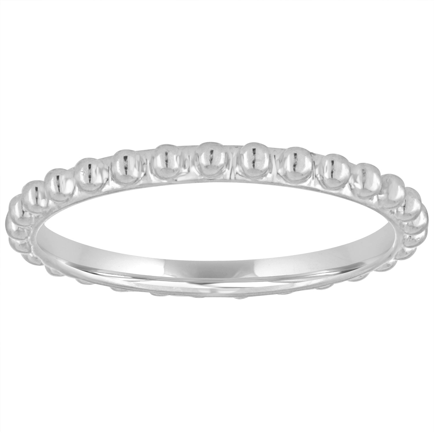 Metal bead eternity ring with no stones