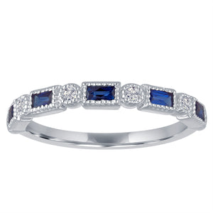 small band with alternating sapphire baguettes and round diamonds