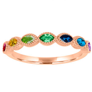 half eternity band with 7 rainbow marquis stones