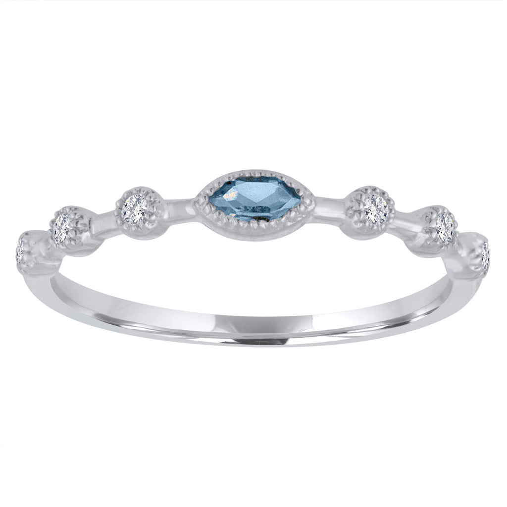 Aquamarine marquis center with three round stationed diamonds