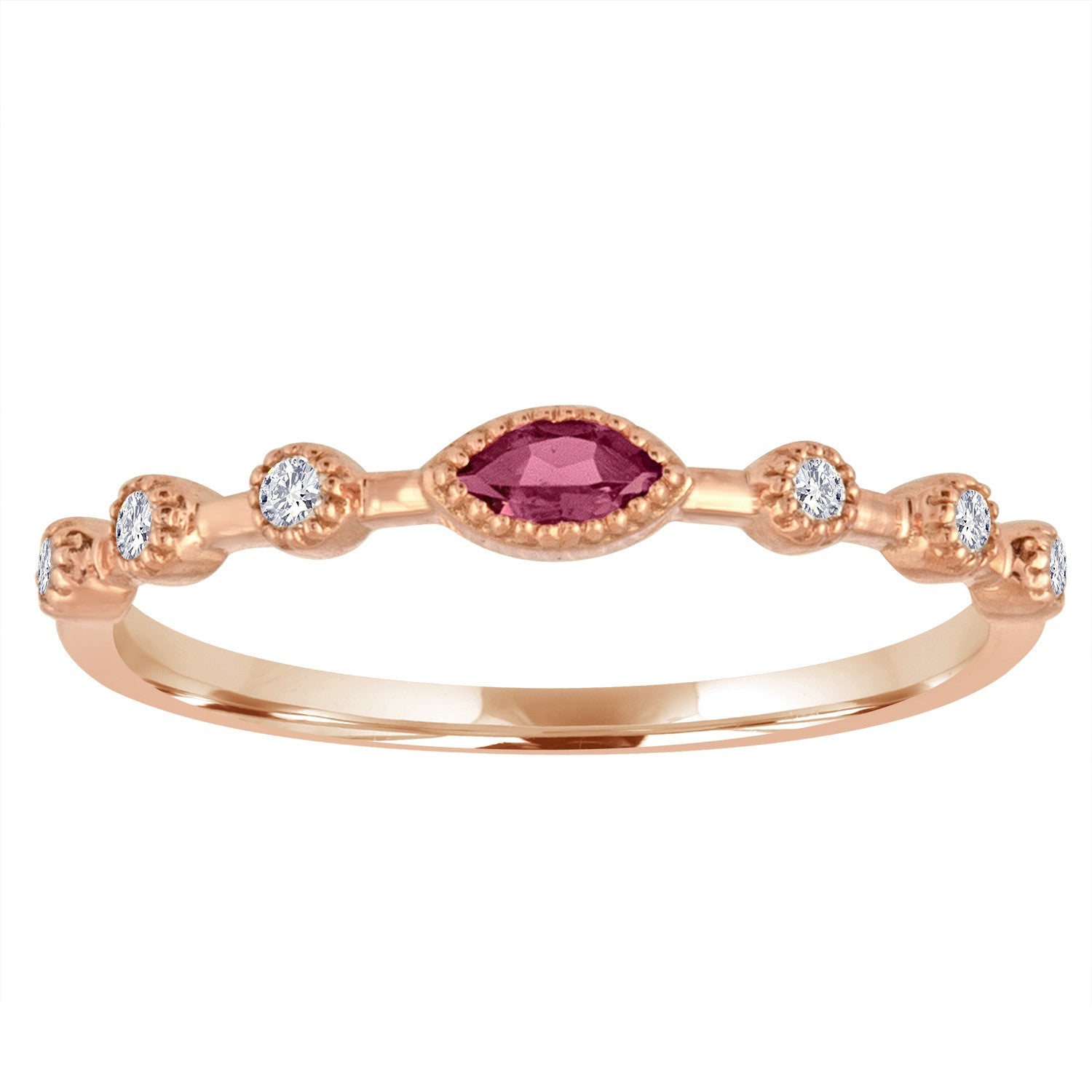 Pink tourmaline marquis center with three round stationed diamonds