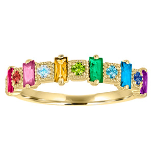 rainbow band with alternating baguettes and round stones