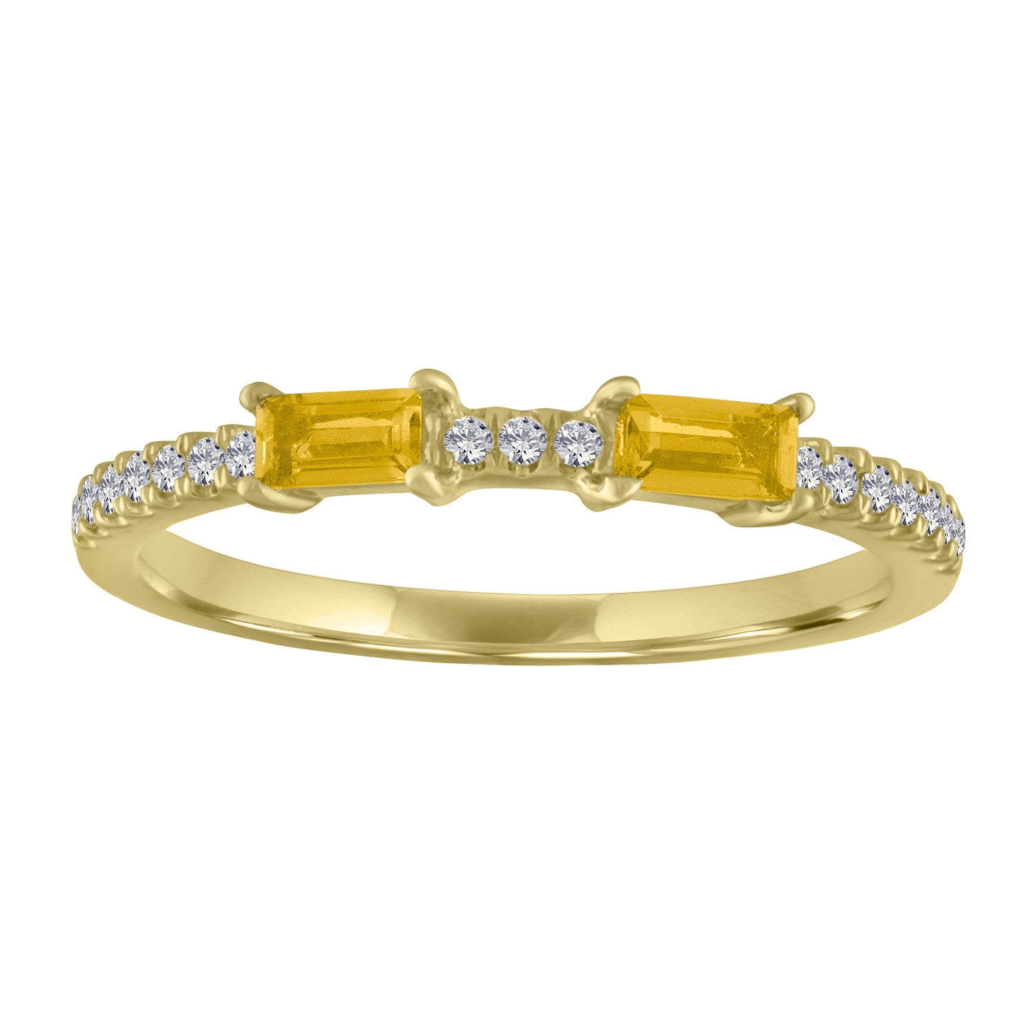 Ida ring with two citrine baguettes