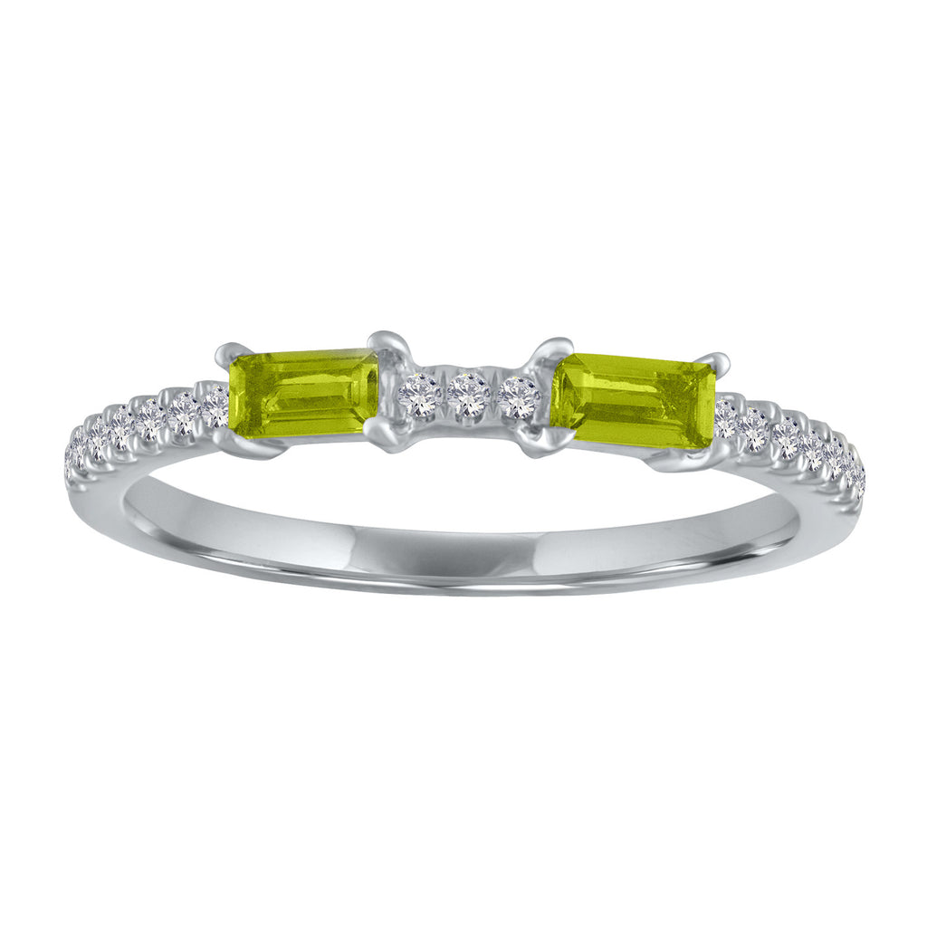 Ida ring with two peridot baguettes