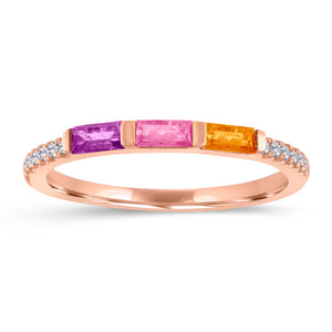 Julie ring with amethyst, pink tourmaline and blue citrine baguettes