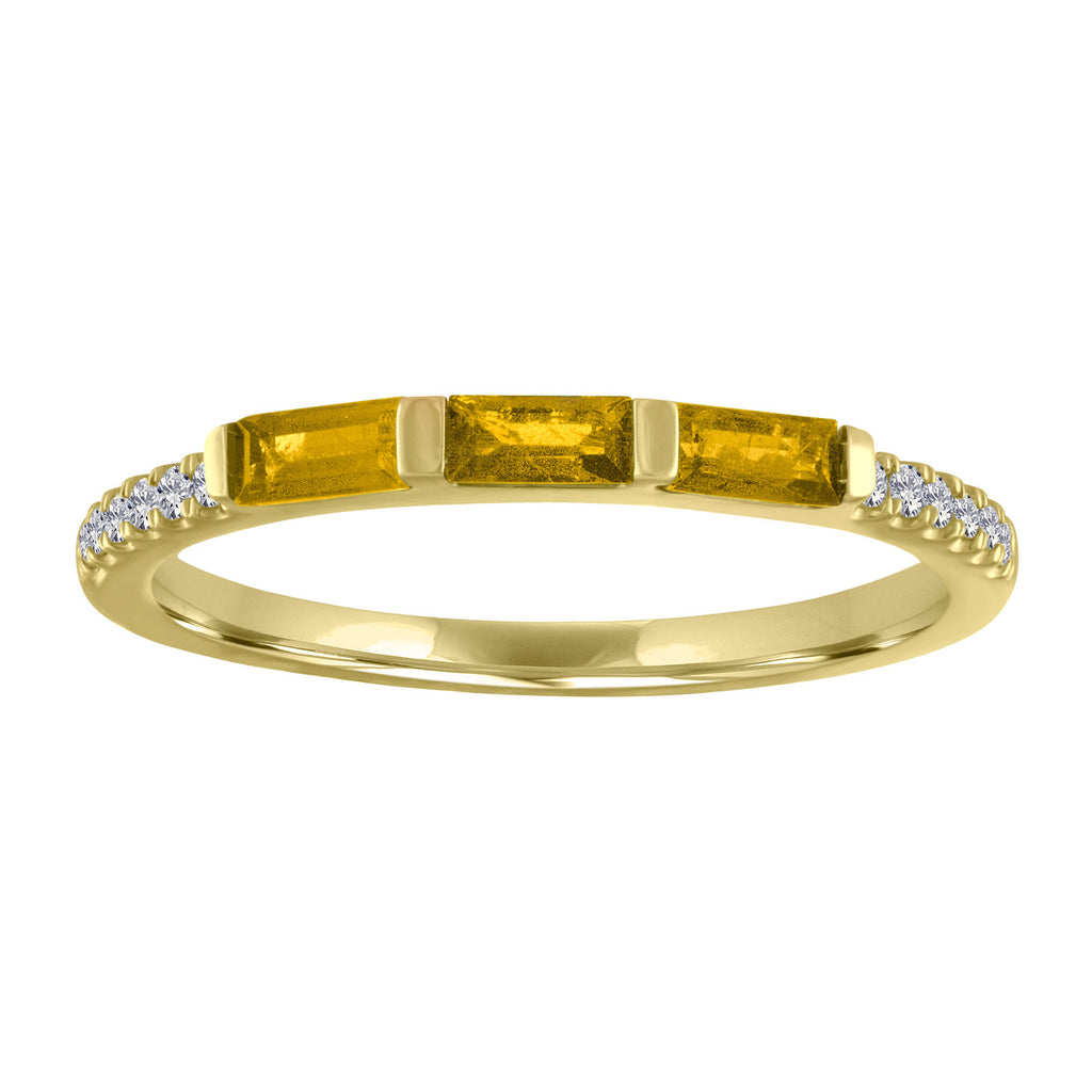 Julie ring with 3 citrine baguettes