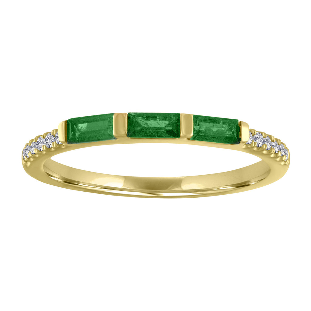 Julie ring with 3 emerald baguettes