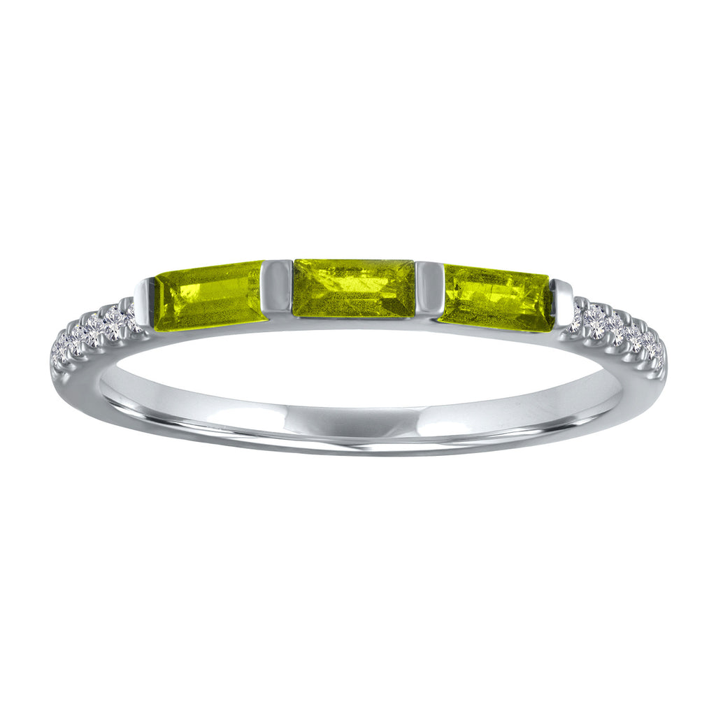 Julie ring with 3 peridot baguettes