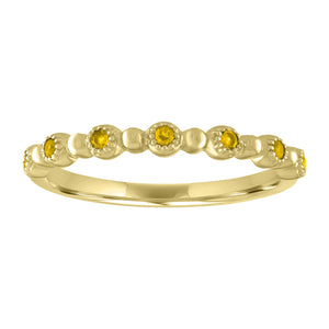round citrine stones alternate with gold beads