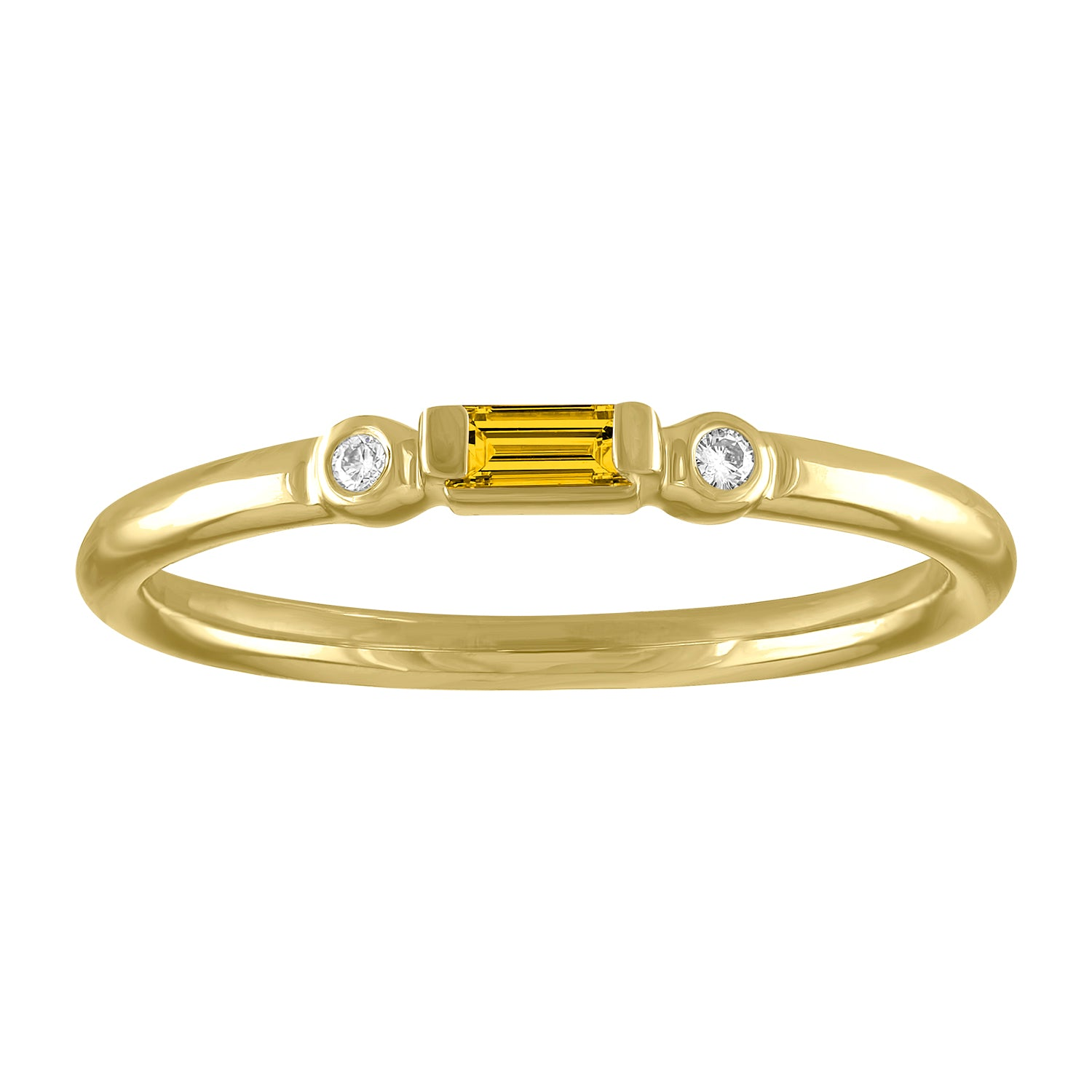Olive ring with citrine baguette and two round diamonds