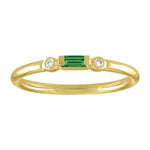 Olive ring with emerald baguette and two round diamonds