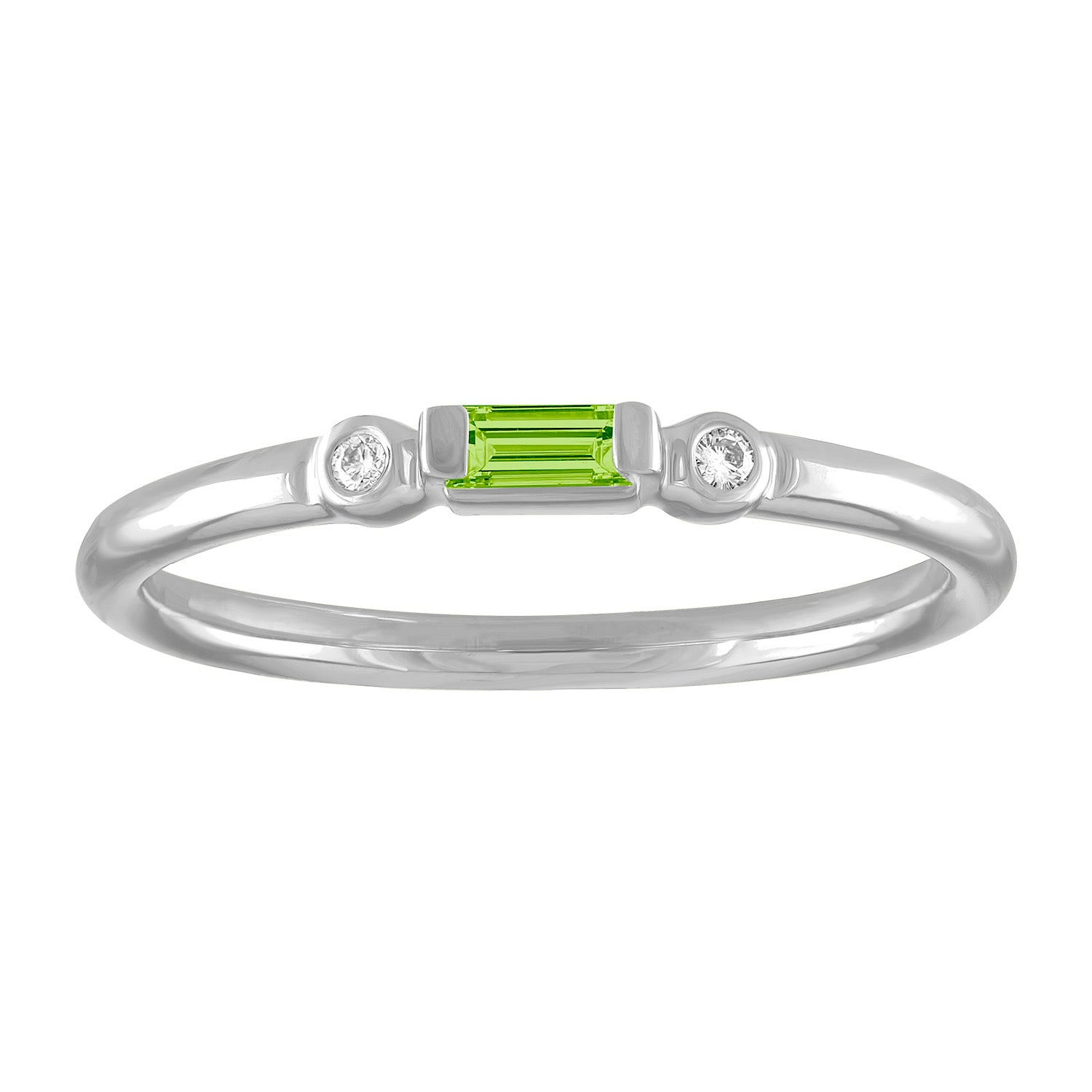 Olive ring with peridot baguette and two round diamonds