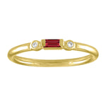 Olive ring with ruby baguette and two round diamonds